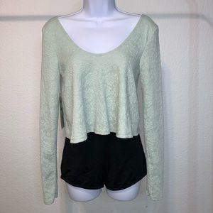 Mint Green Floral Long Sleeve Crop Top